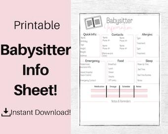 Babysitter Info Sheet. Babysitter Information Sheet. Babysitter Printable. Babysitter Sheet. Babysitting Schedule. Babysitter Form. Babysit