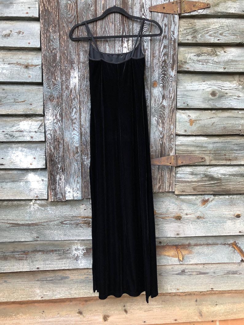 Vintage 90s Long Black Velvet Dress
