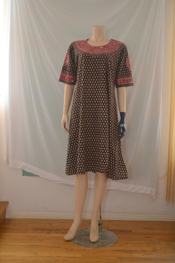 Indian Cotton Block Print Dress with Embroidery an