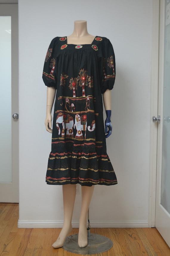 Vintage Ramona Rull Ethnic Dress with Elephants a… - image 2