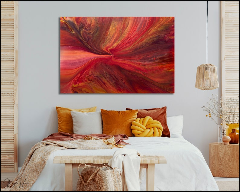 Red and Gold Abstract Painting Modern Original Art Medium image 0
