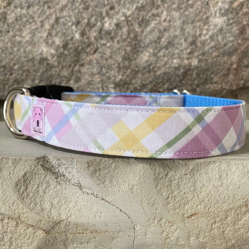 Pastel Plaid Spring Easter Dog Collar