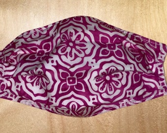 Raspberry Batik Mask 3 Layers Adjustable ear loops Reversible XL, Large, Adult, Teen, Child, Toddler, Made in USA