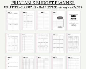 Digital budget planner printable finance planner A5 A4 us letter 8.5x11 half letter sizes instant download pdf file