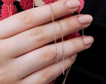 Silver Long Thread Earrings Long Spike Dangle Earrings Bohemian Jewellery Long Spike Threader Earrings Silver Spike Threader Earrings