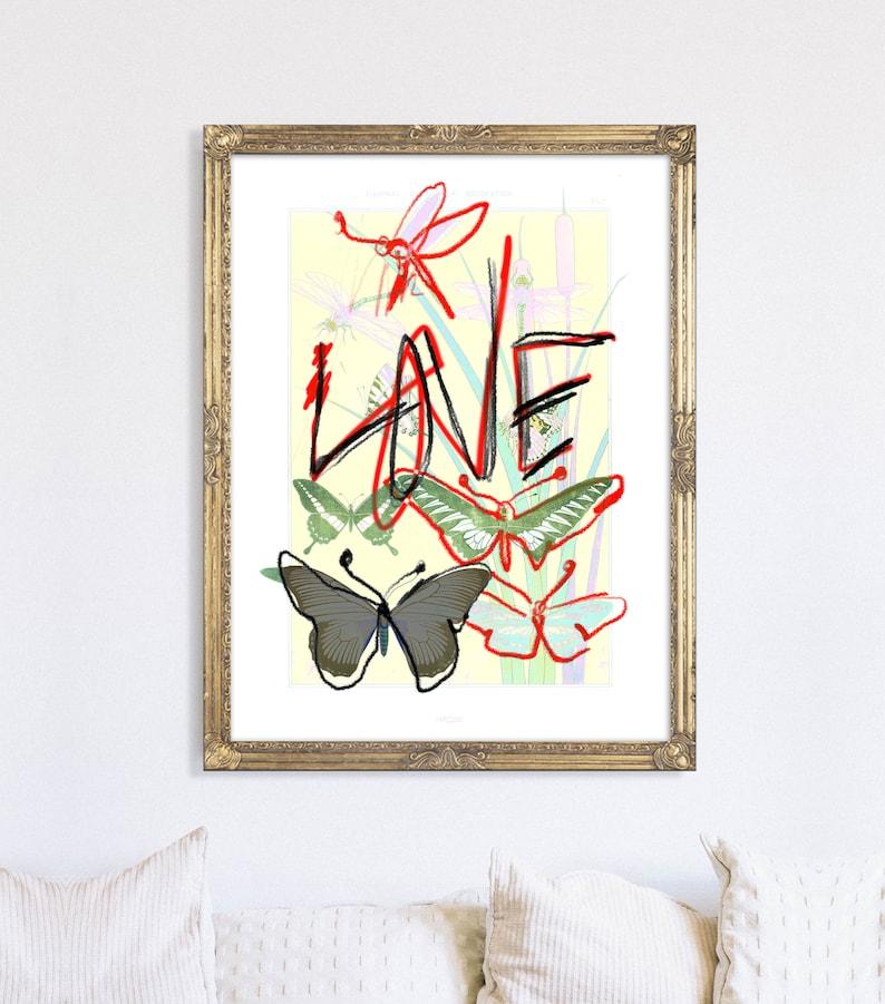 LOVE Art Print Giclee Print Apartment Decor Kids Room Decor Original Wall Art Collage Art Pop Art Print Glam Wall Art