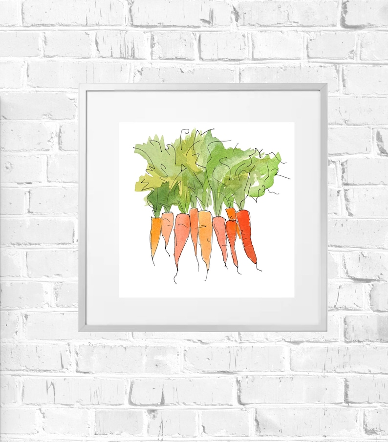 carrot watercolour vegetable painting vegetable art kitchen art kitchen wall art Print only Carrot painting