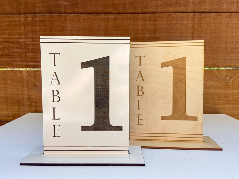 Engraved Wood Table Numbers  Wedding Tables  White Wood image 0