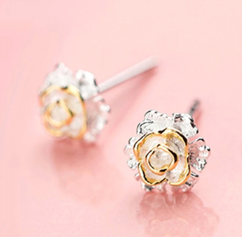 Original Classic 925 Sterling Silver Flower Stud Earrings For Women Girls Piercing Fashion Jewelry Gold Color.