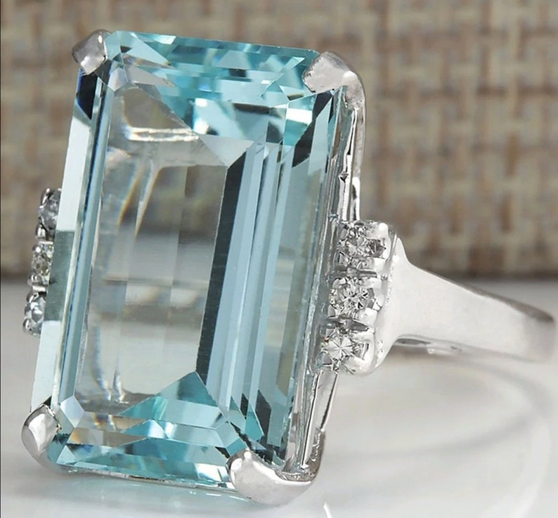 Luxury Bridal Ring Big Blue Cubic Zircon Stone Rings For Women  Silver Wedding Engagement Rings Vintage Party Jewelry Gift