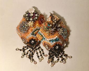 Aqua and Apricot Rounded Shield Pasties with Vintage Embellishments