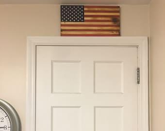 Small Handmade Rustic American Wooden Flag