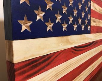 Handmade Rustic American Wooden Flag