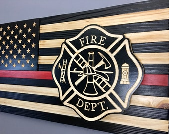 """First Responder Thin Red Line Wooden American Flag (25""""x13"""")"""