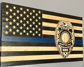 """First Responder Thin Blue Line Wooden American Flag (25""""x13"""")"""