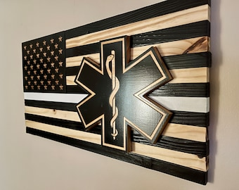"""First Responder Thin White Line Wooden American Flag (25""""x13"""")"""