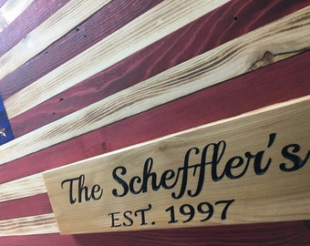 """Personalized Handmade Rustic Wooden American Flag (36"""" x 19.5"""")"""