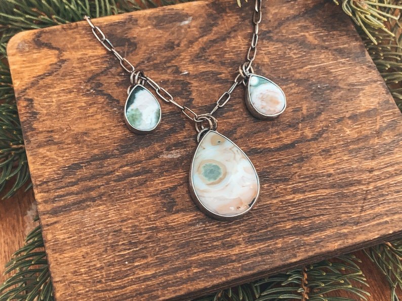 Sterling Silver Choker Style Necklace Ocean Jasper Silver Choker Necklace Ocean Jasper Necklace Statement Necklace Multi Stone Necklace