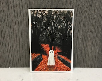 "Ghost Art Print | 5""x7"" | 4""x6"" | 3""x4.5"" | Wall Art Print | Halloween Home Decor | Original Acrylic Painting | Halloween Art"