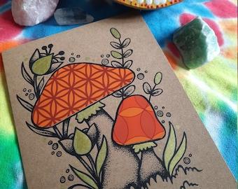 A6 70s Mushroom card No.2
