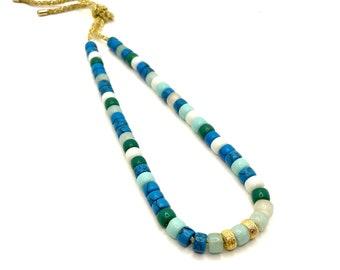 Big Pony Bead Necklace | Gemstone Pony Bead Necklace