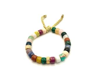 Multi Gemstone Bracelet | Gemstone Big Bead Bracelet | Pony Bead Bracelet