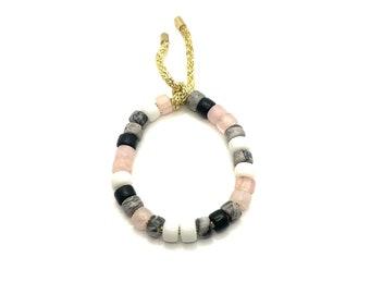 Obsidian, pink quartz, and agate bracelet | Gemstone Pony Bead Bracelet | Forte Bead Inspired | Big Bead Rainbow Bracelet