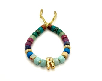 Fall Jewel Bracelet | Gemstone Pony Bead Bracelet | Forte Bead Inspired | Big Bead Rainbow Bracelet