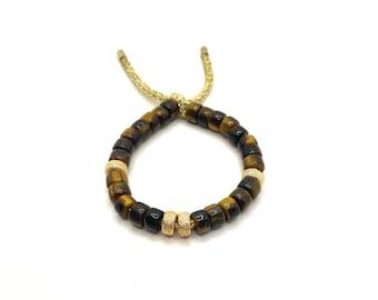 Tigers Eye Bracelet | Gemstone Big Bead Bracelet | Pony Bead Bracelet