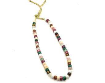 The Phoenix Necklace | Big Pony Bead Necklace | Gemstone Pony Bead Necklace | Choker Necklace