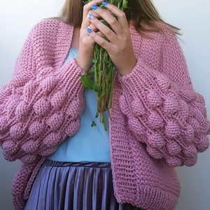 Super chunky knit Bulky yran bomber Multicolor knit sweater. Big knit jacket Woolen knit coat Secial SALE 30/% off Chunky knit cardigan