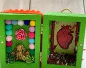 Love Nicho, Valentines gift, Love token, Nicho, Mexican Nicho, alternative valentines, love heart, Love, Mexican folk art, skull, sugar skul