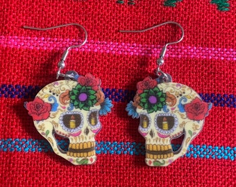 Sugar skull earrings, dia de los muertos, day of the dead earrings, sugar skull, Halloween, Halloween accessories, sugar skull accessories