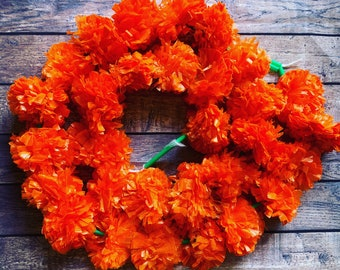 Day of the Dead garland,  flower garland, Day of the dead garland, day of the dead flowers, orange flower garland, day of the dead altar