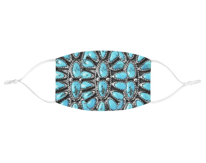 Turquoise Bling Fabric Face Mask