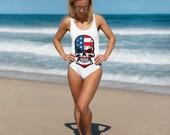 We The People One-Piece Swimsuit, Gift For Her, Swimsuit, Summer, Vacation, Boating