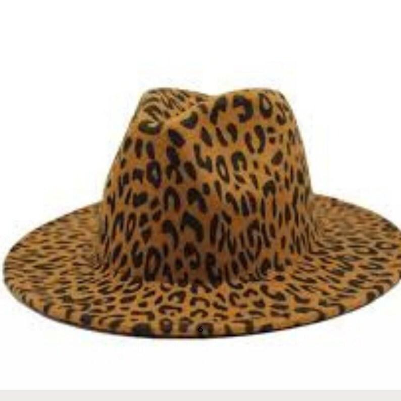 Wool Felt Leopard Fedora Wide  Brim Classic