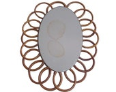 Old rattan mirror bamboo wicker flower sun vintage French 50 60 France