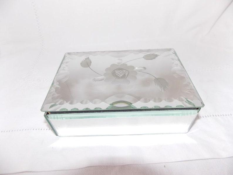 Jewel box mirror Venetian floralntin glass bevelled floral pattern  vintage beautiful art deco era