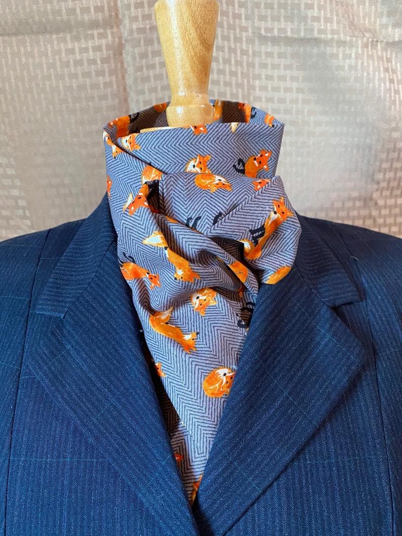 Stock tie equestrian 4 fold Fox on herringbone