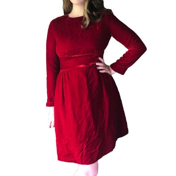 True Vintage 1960s Red Velvet Dress