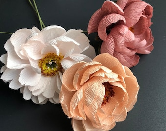PaperFlower Kit, Crepe Paper Flower DIY Tutorial, DIY Craft Kit, Craft Kit, Handmade Crepe Paper Peony, Bouquet of Crepe, Peony