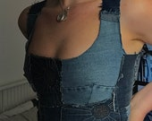 Handmade one of a kind patchwork denim crop top with corset lace up back