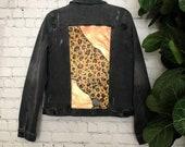 Custom Metallic Leopard Hand Painted Denim Jacket