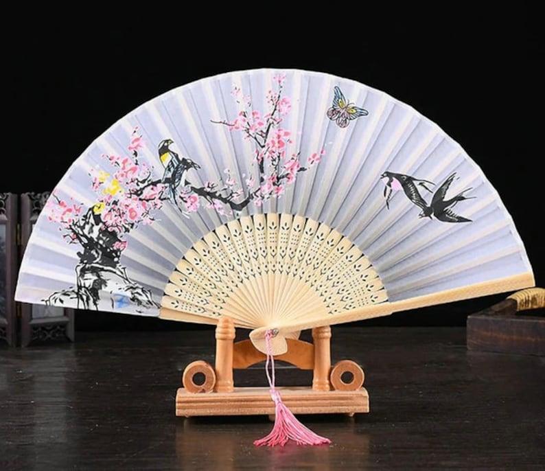 Wedding Favors Japanese Silk Folding Fans Black Bamboo Floral Ribs and Elegant Tasse,Custom Text Folding Fans for Bridal Shower Baby Shower