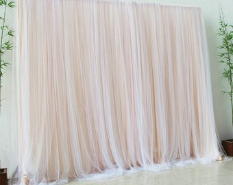 Custom Size Champagne Chiffon Backdrop for Bridal Shower Photography Tulle Backdrops Curtains,Wedding Newborn Baby Shower Party Background