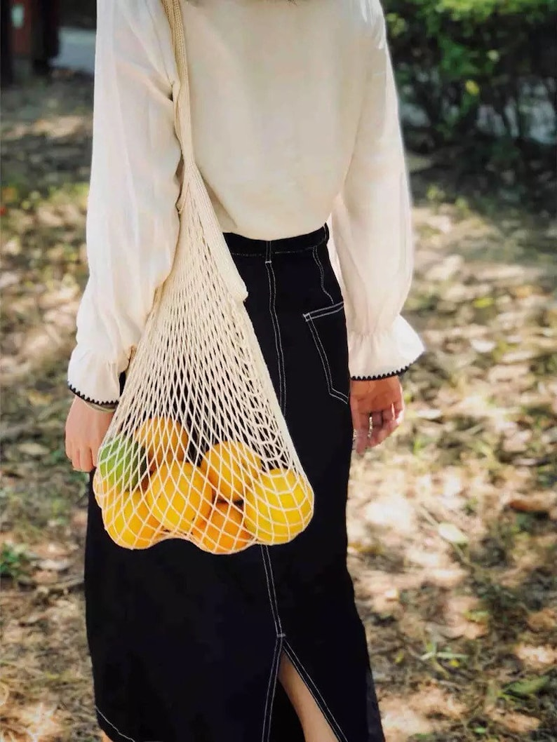 Organic Cotton Fruit And Vegetable Bags  Mesh Shopping Bag  image 0