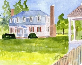 Yorktown, VA Watercolor-Moore House. 11x4 Matted (8x10 image).