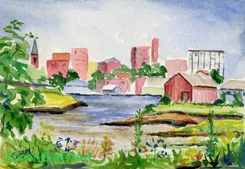 Portland ME Watercolor 6.5x4.5 inches on Arches 140CP paper Unframed.