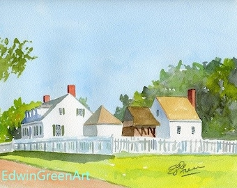 Yorktown, VA Watercolor-Dudley Diggs House. 11x14 Matted (8x10 image).